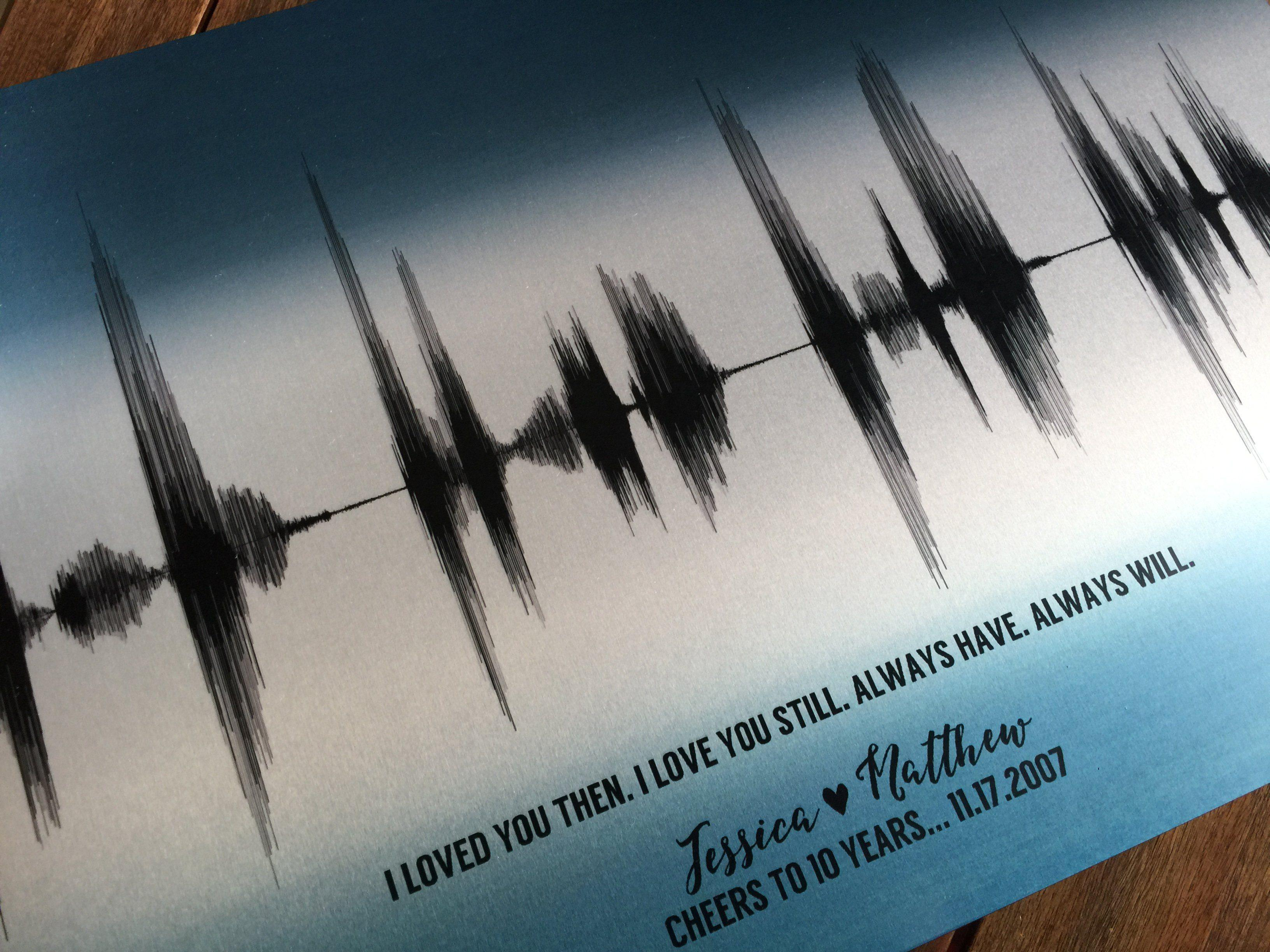 10th Anniversary Personalized Voice Art Gift, Tin Aluminum Metal Print - Artsy Voiceprint