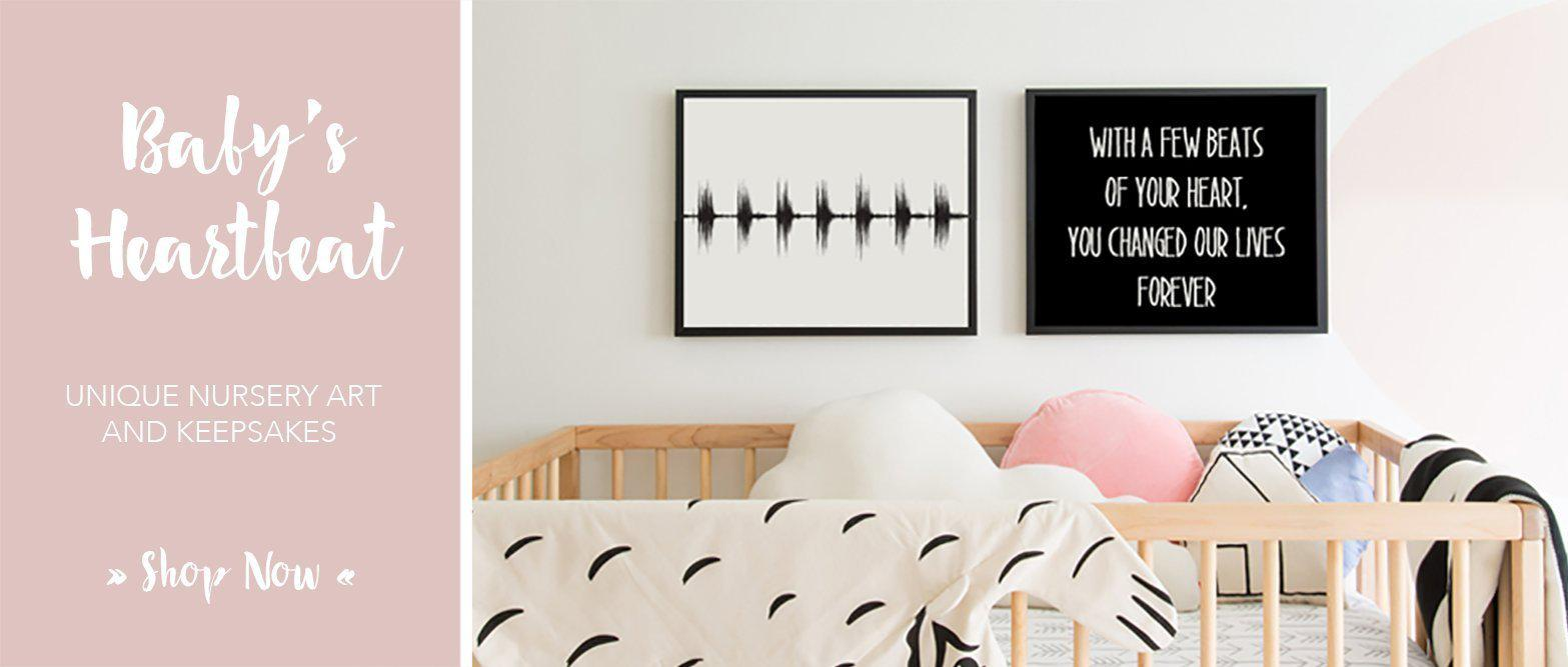 Baby Heartbeat Sound Wave Art Nursery Keepsake Wall Art
