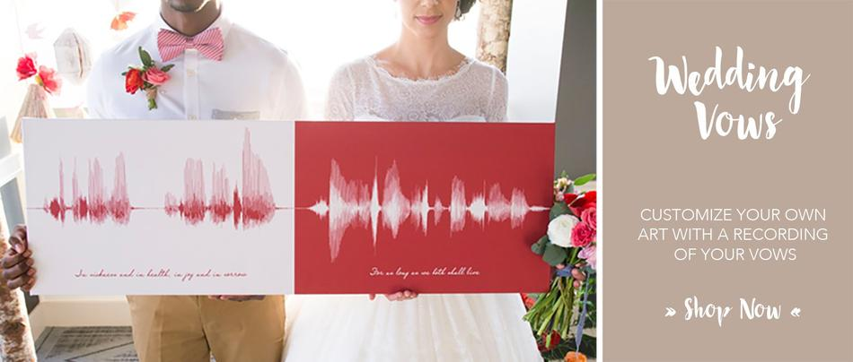 Wedding Vows Sound Wave Canvas Art Vow Keepsake Anniversary Gift Idea