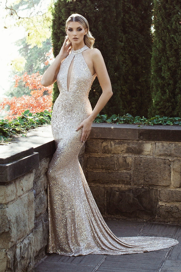 Nicole Bakti High Neck Glitter Backless Gown