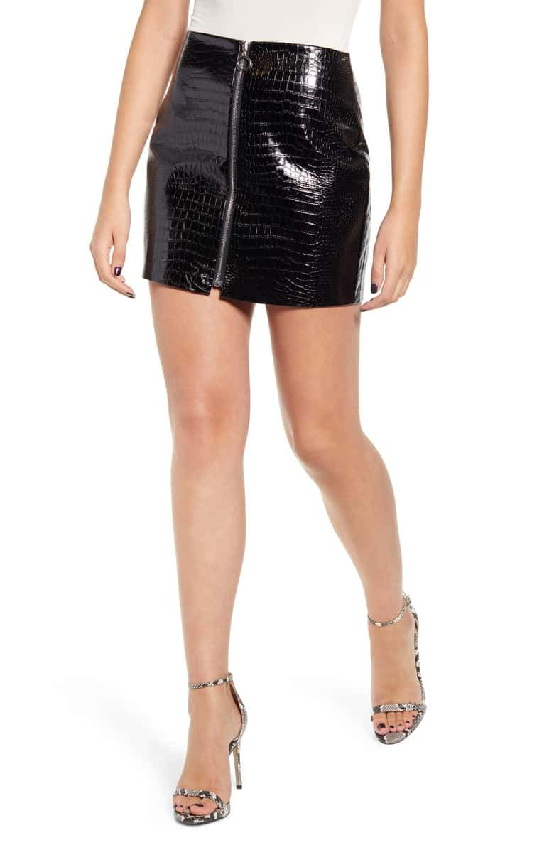 Jessica Bara Tally Croc Embossed Mini Skirt