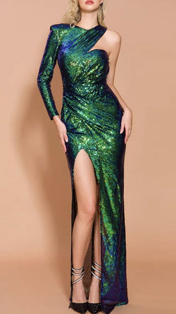 Jessica Bara Zoe One Shoulder Emerald Sequin Gown