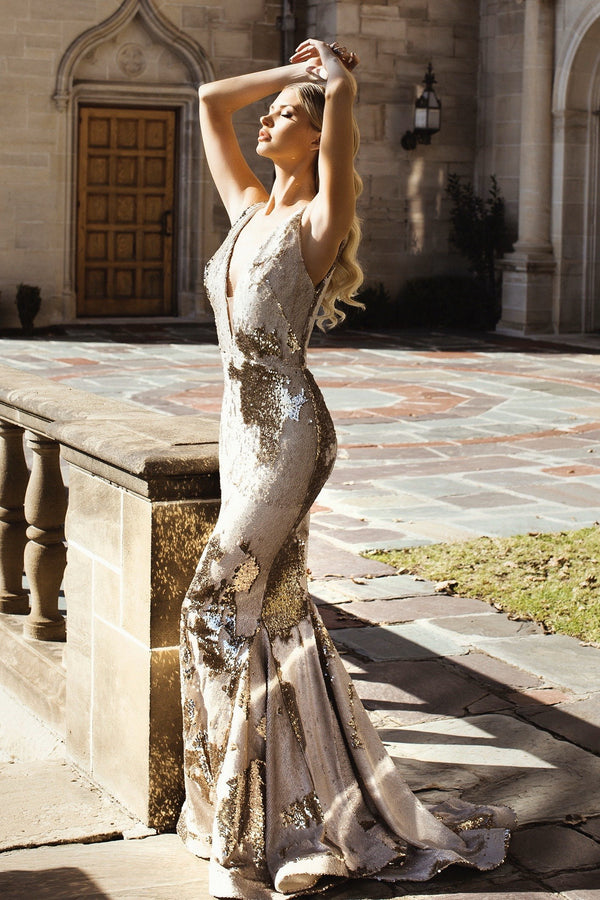 Nicole Bakti V Neck Sequin Cut Out Gown
