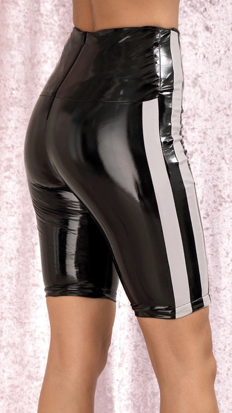 Jessica Bara Sam Faux Patent Leather Biker Shorts