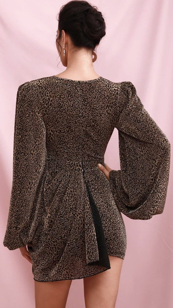 Jessica Bara Milania Long Sleeve V Neck Leopard Mini Dress