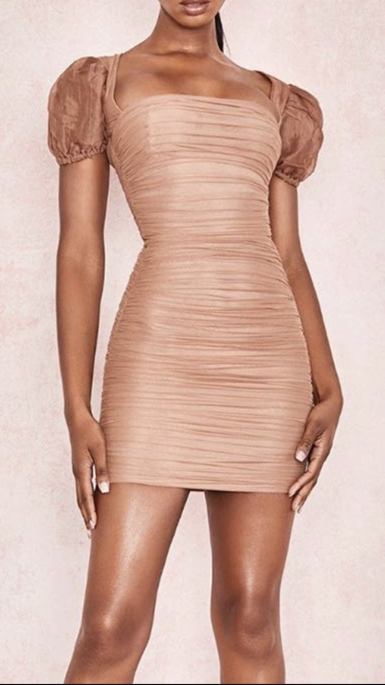 Jessica Bara Bianca Short Sleeve Ruched Mini Dress