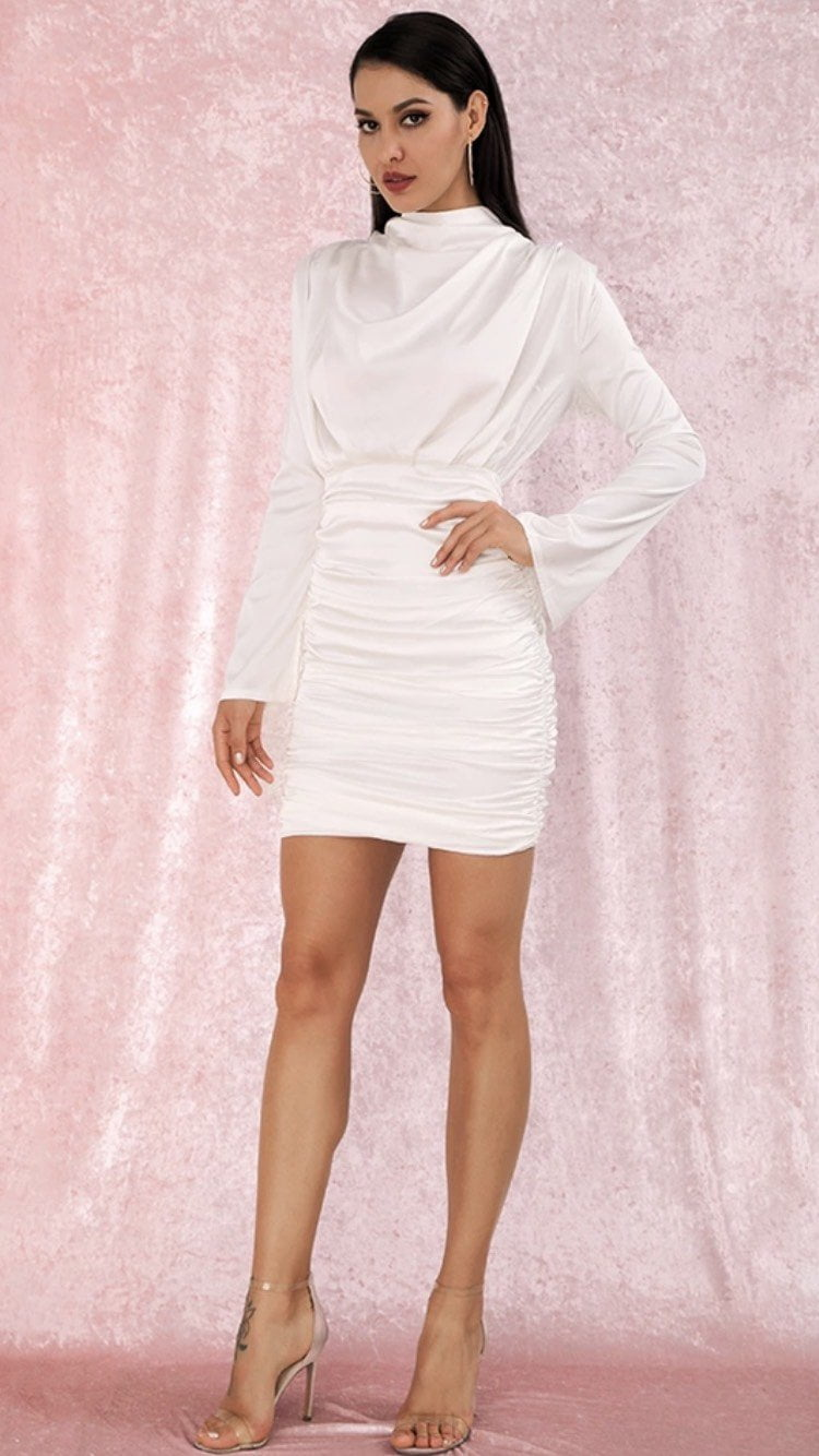 Jessica Bara Michelle Long Sleeve Ruched Mini Dress