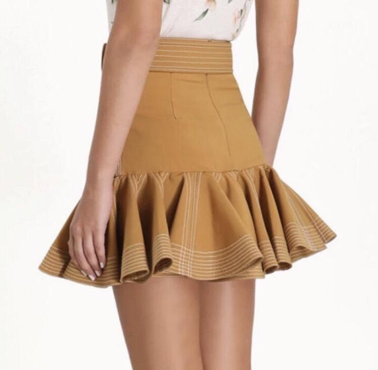 Jessica Bara Audrey High Waisted Ruffle Mini Skirt