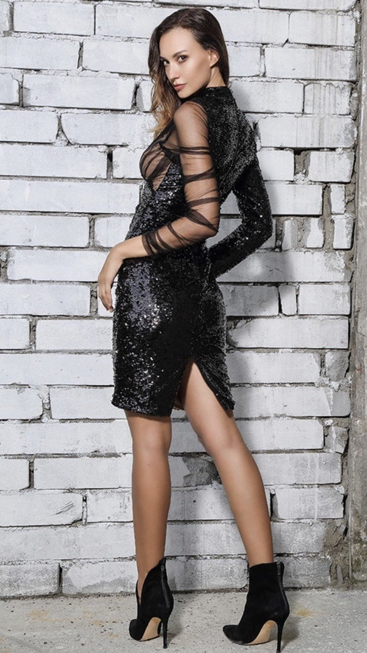 Jessica Bara Ivy Sequin Mesh Long Sleeve Dress