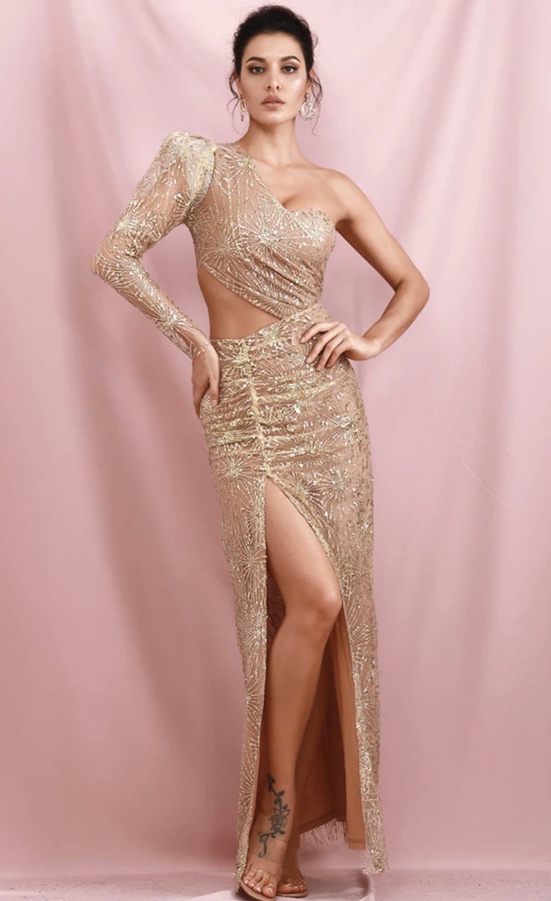 Jessica Bara Sylvie One Shoulder Glitter Gown