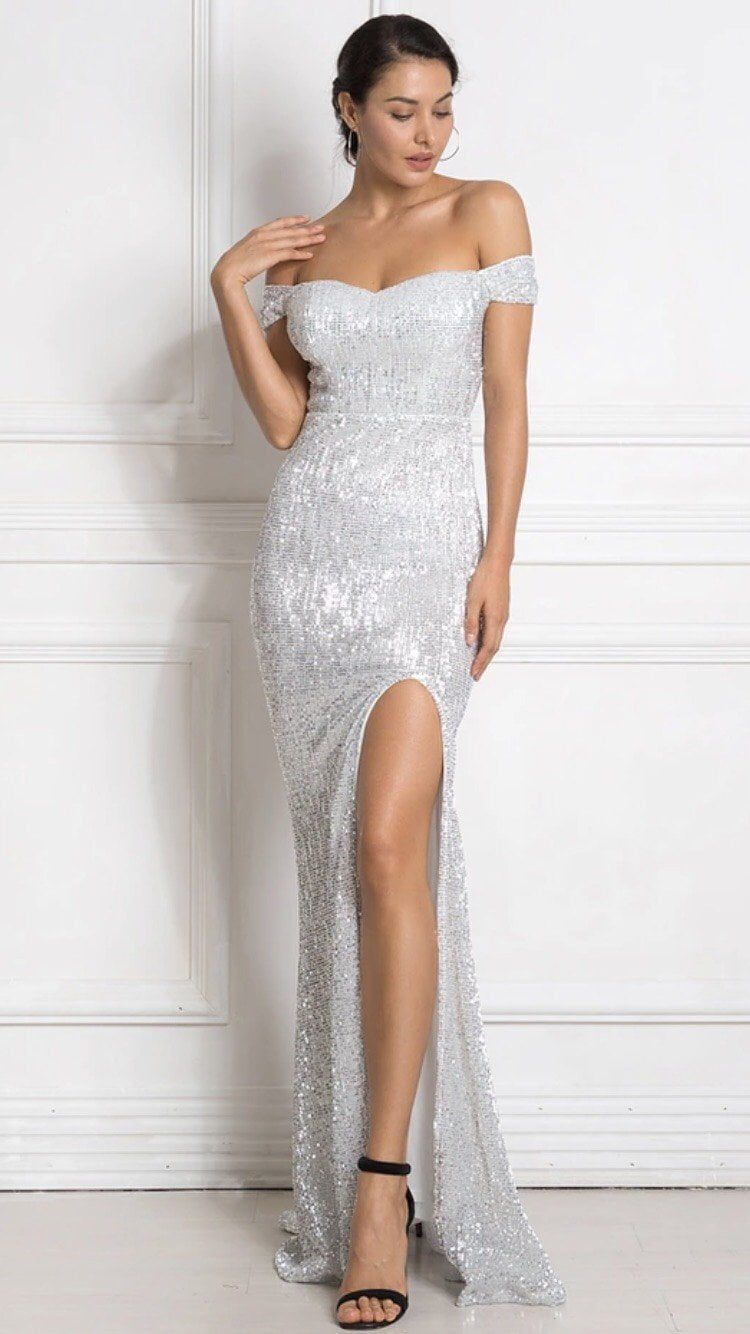 Jessica Bara Elijah Off the Shoulder Sequin Gown