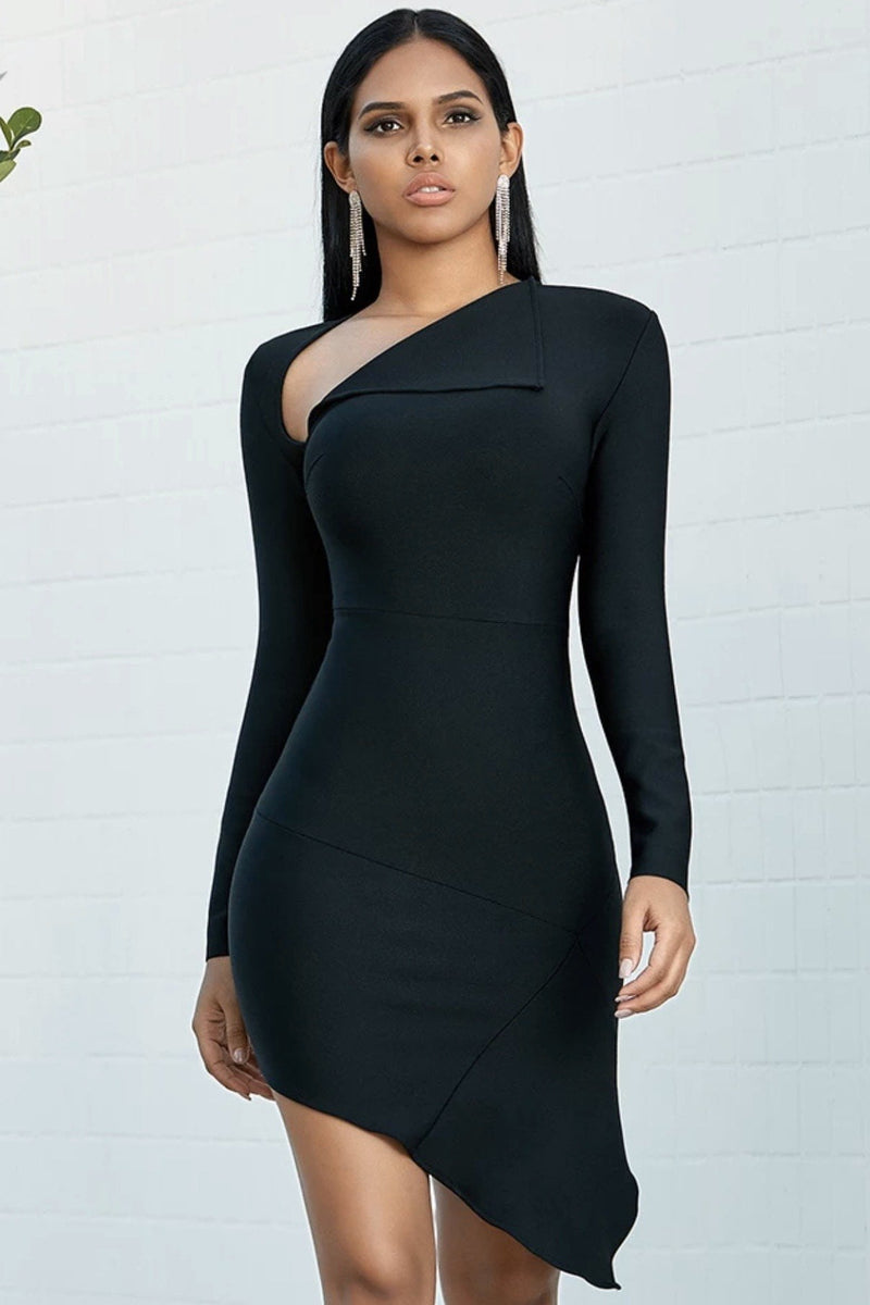 Jessica Bara Reagen Long Sleeve Asymmetrical Bandage Dress