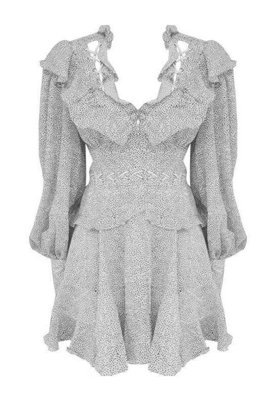 Jessica Bara Solie Long Sleeve Ruffle Mini Dress