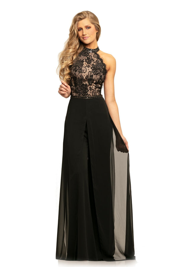 Johnathan Kayne Beaded Lace Chiffon Jumpsuit