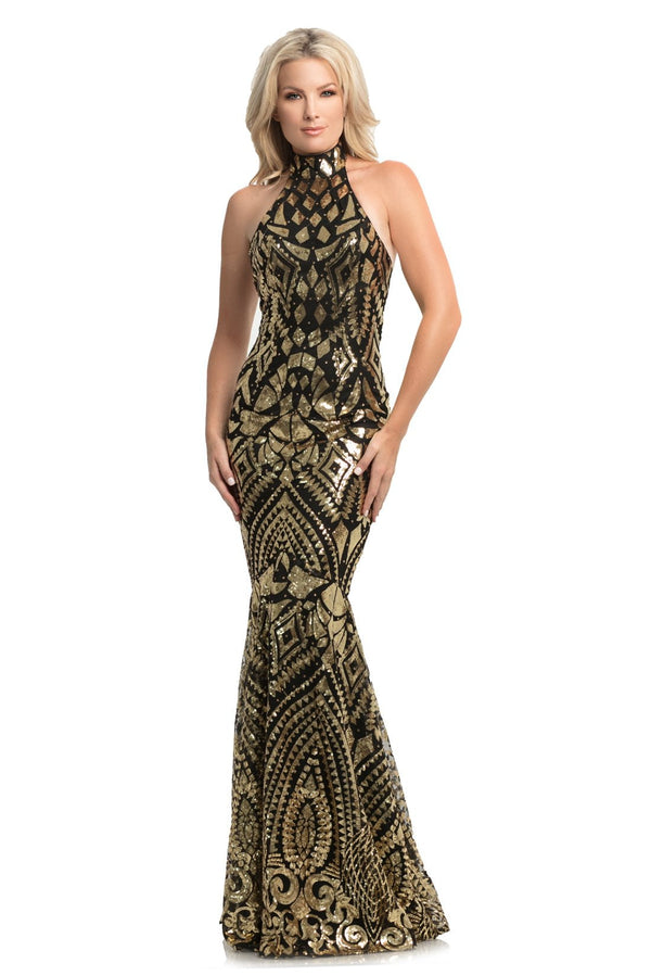 Johnathan Kayne Sequin High Neck Gown