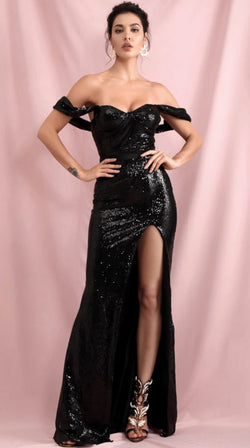 Jessica Bara Raine Off the Shoulder Sequin Gown