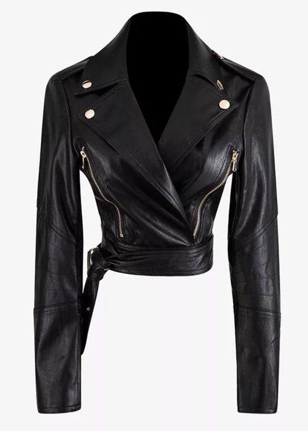Jessica Bara Oaklynn Cropped Faux Leather Jacket