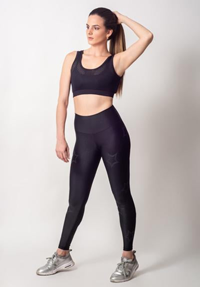 Active Fit Black Outline Stars Legging