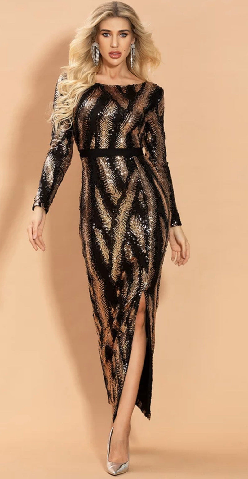 Jessica Bara Kyleigh Long Sleeve Sequin Midi Dress