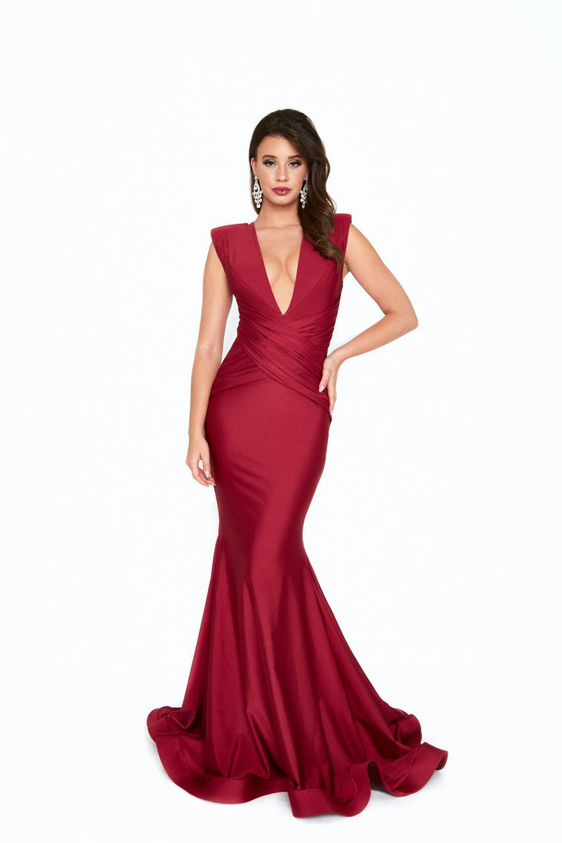 Atria V Neck Wrap Bodycon Gown