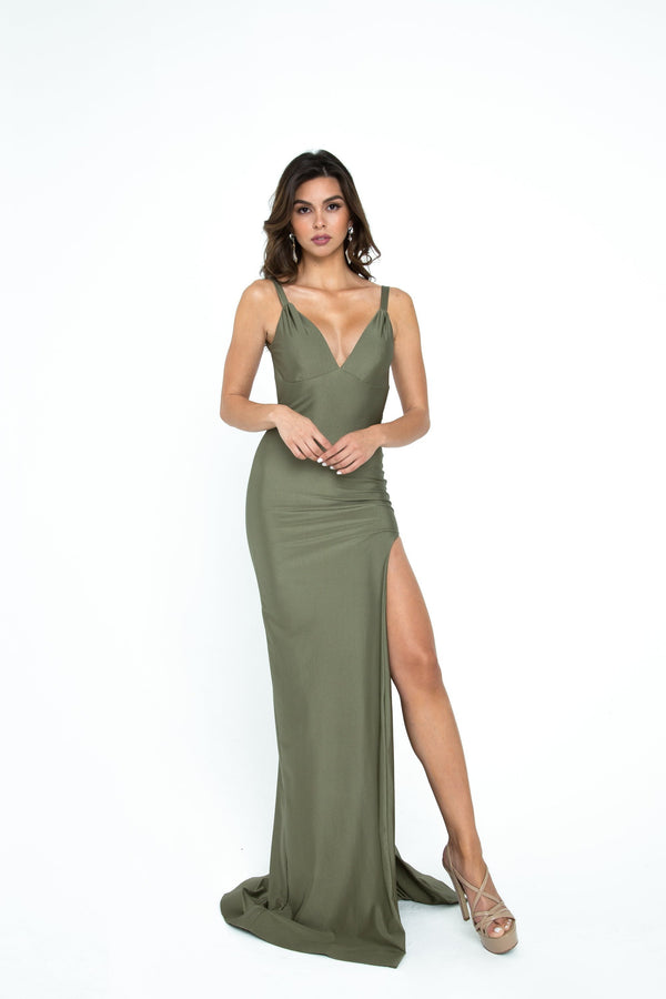 Atria V Neck Backless Bodycon Gown