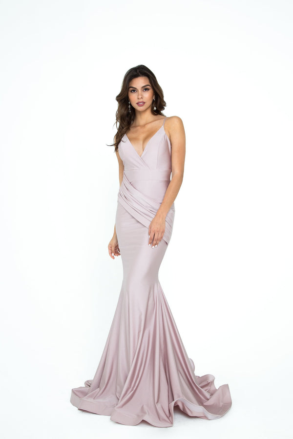 Atria V Neck Draped Bodycon Gown