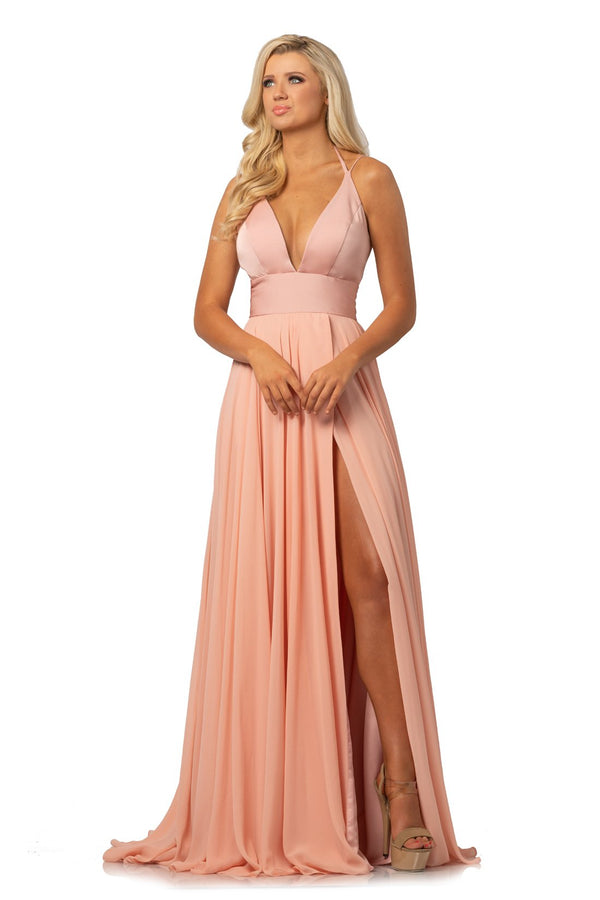Johnathan Kayne Plunging V Neck A Line Gown