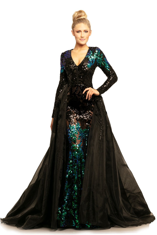 Johnathan Kayne Sequin Long Sleeve Gown