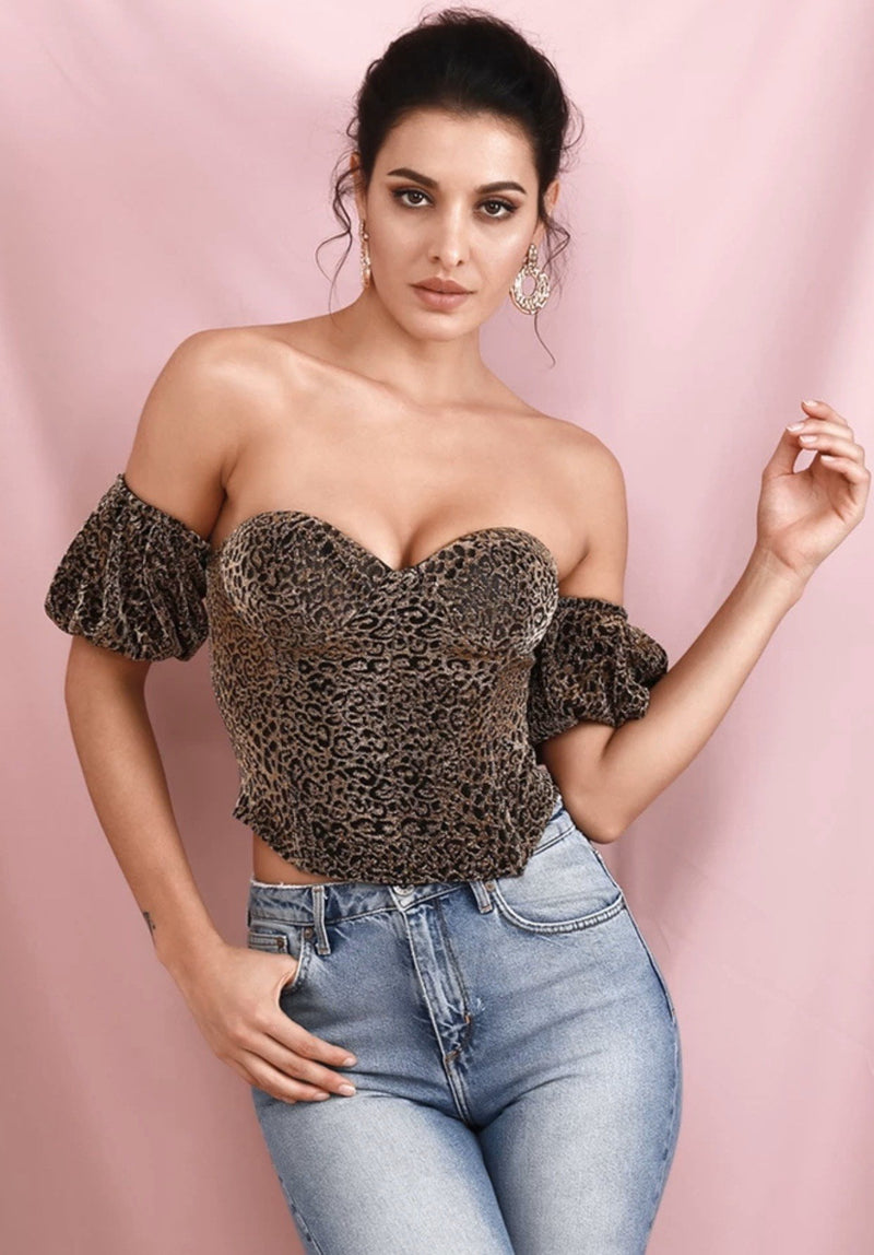 Jessica Bara Cali Off the Shoulder Leopard Crop Top