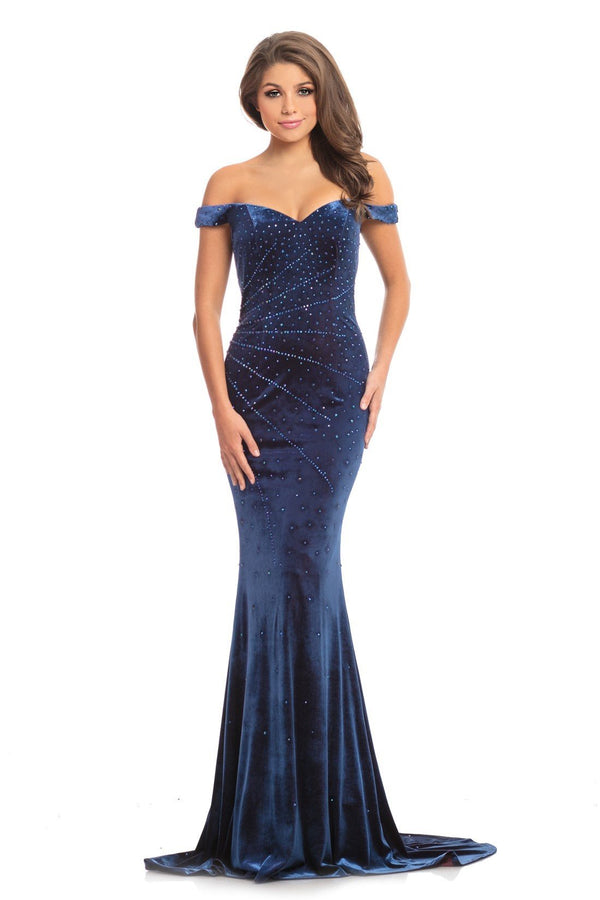 Johnathan Kayne Beaded Off The Shoulder Velvet Gown