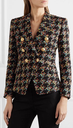 Jessica Bara Donatella Houndstooth Multi-Colored Tweed Blazer