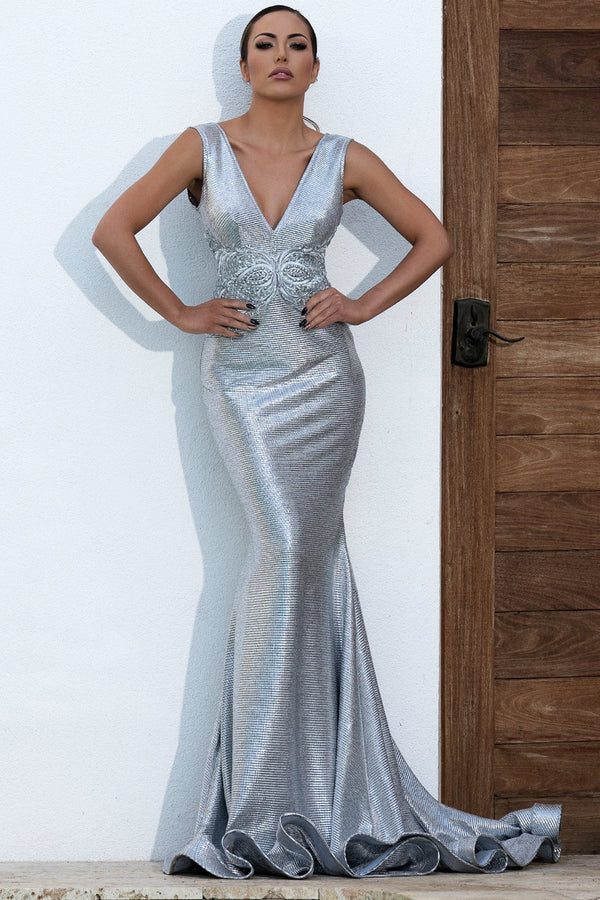 Baccio Valentina Metallic Hand Painted Gown