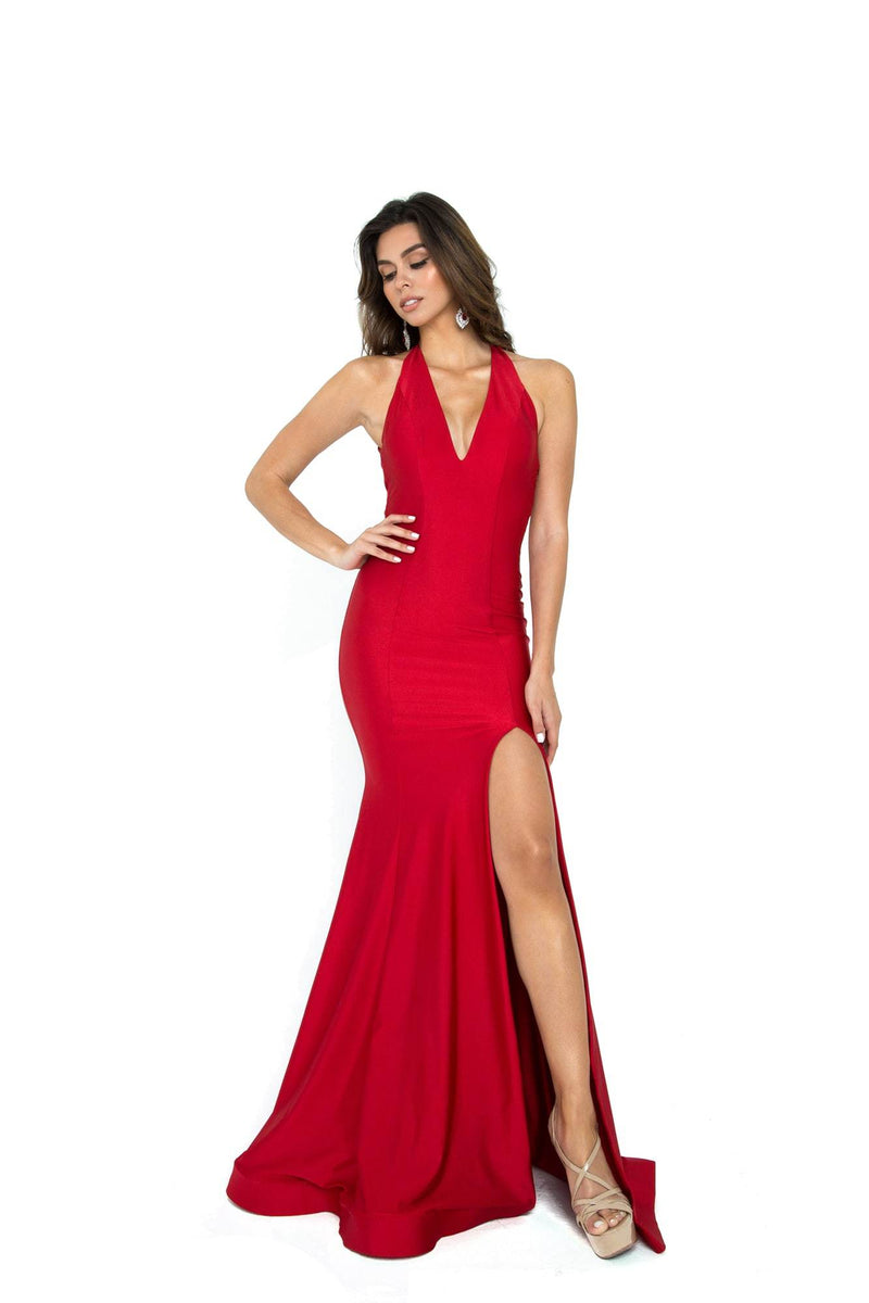 Atria Backless Leg Slit Gown