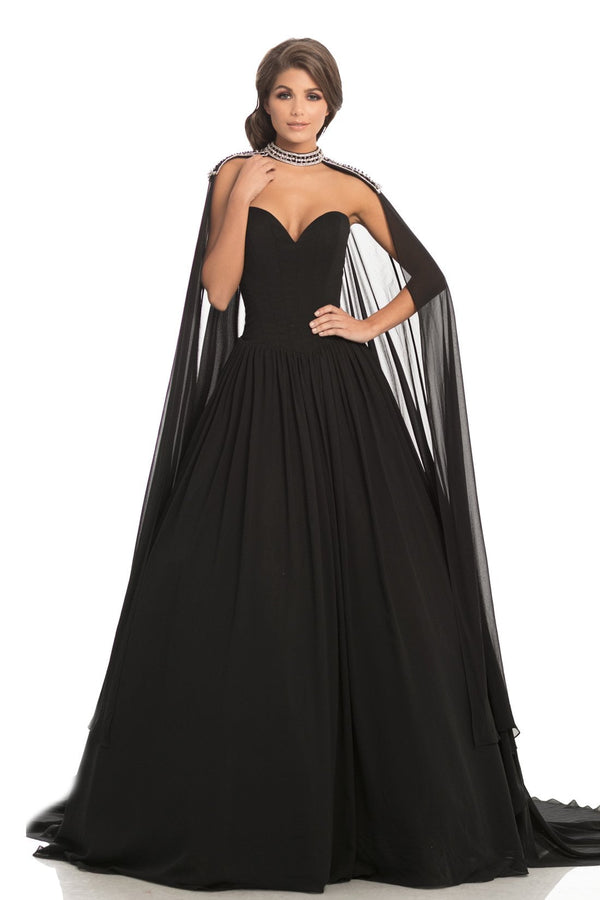 Johnathan Kayne Strapless Jeweled Cape Gown