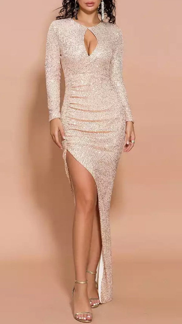 Jessica Bara Macy Cut Out Glitter Bodycon Gown