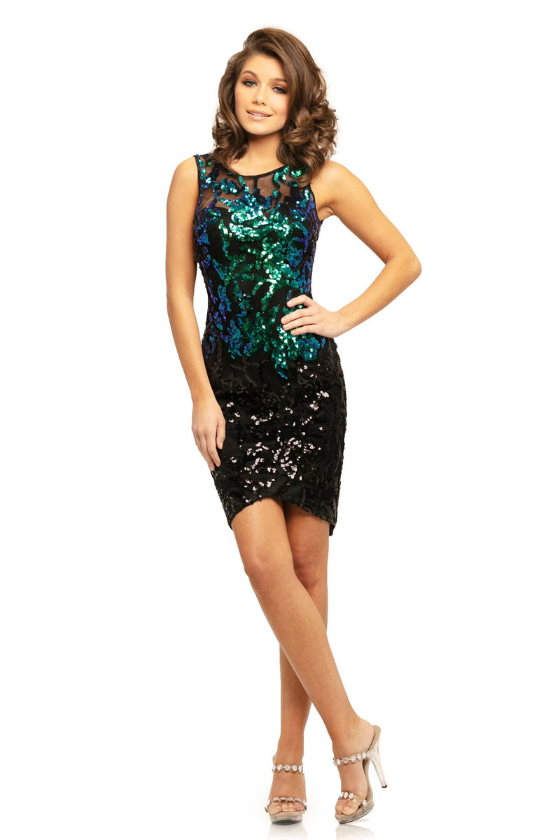 Johnathan Kayne Sequin Sheath Mini Dress