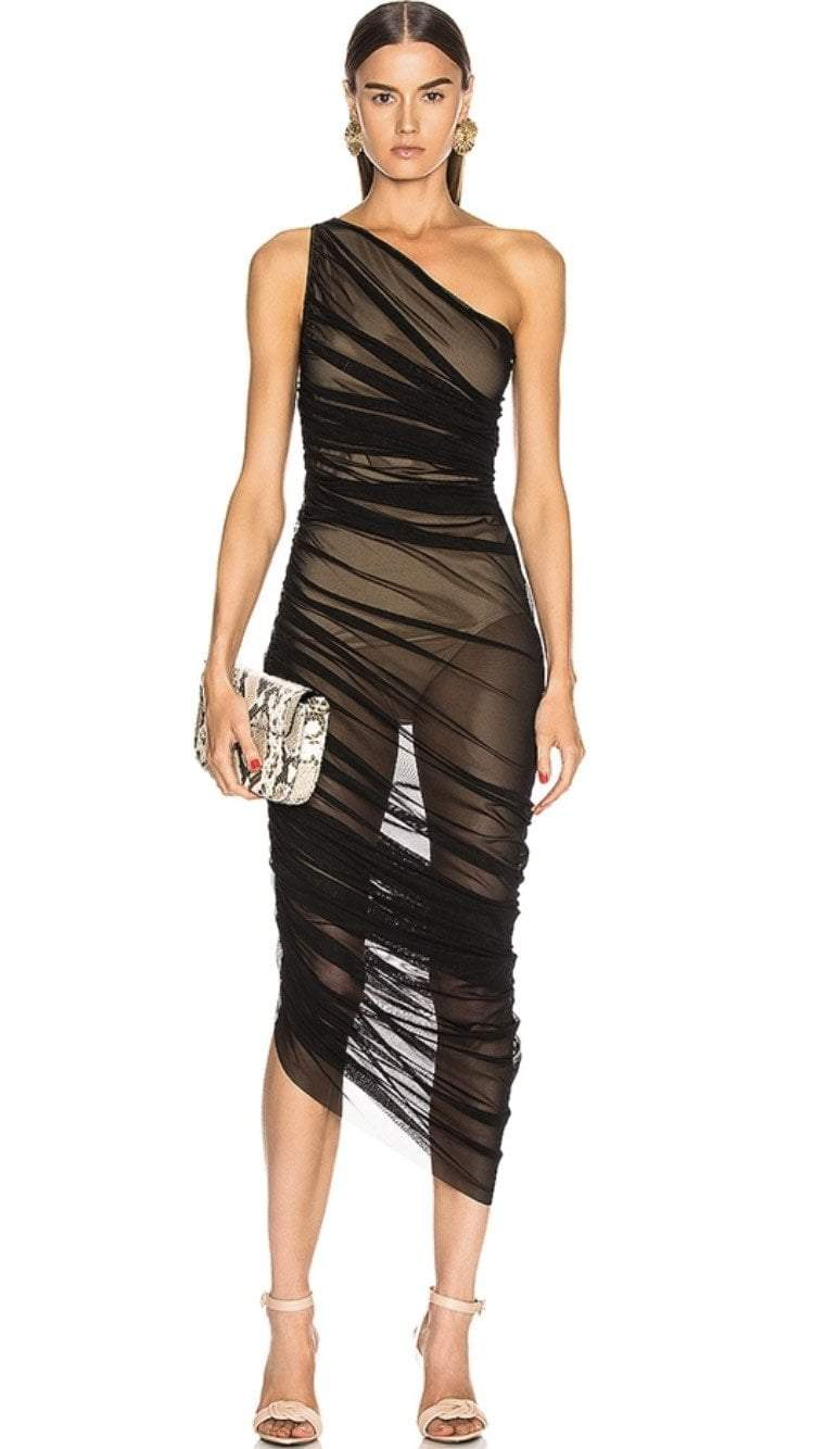 Jessica Bara Seaver One Shoulder Sheer Bodycon Dress