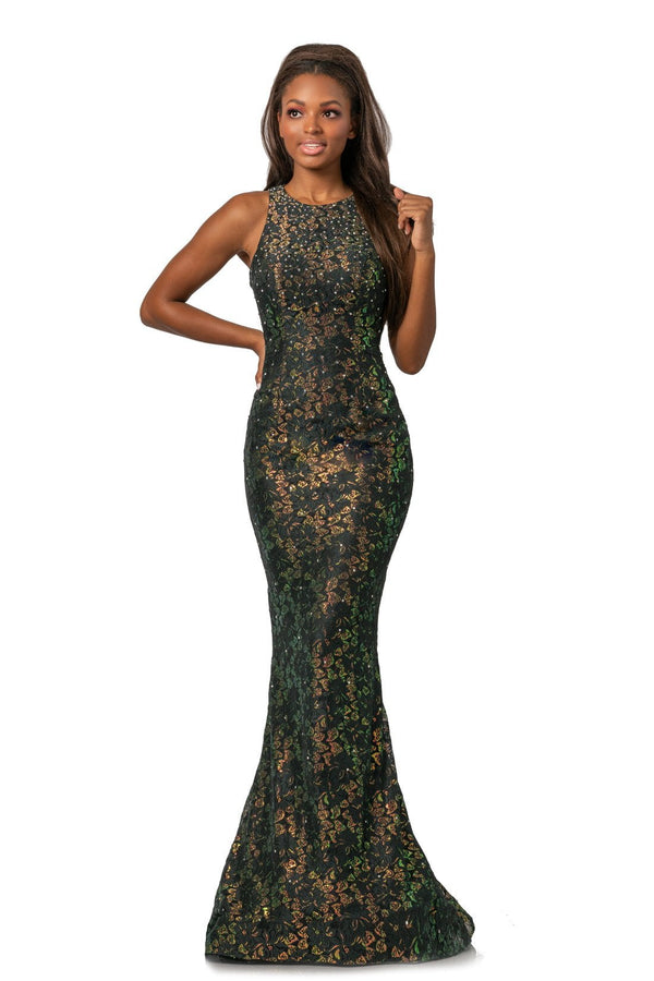 Johnathan Kayne Jewel Metallic Lace Gown