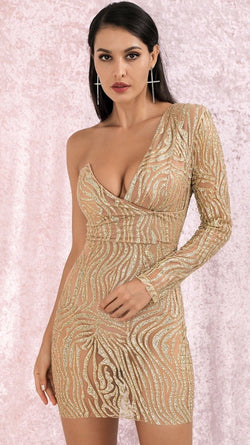 Jessica Bara Lilly One Shoulder Glitter Mini Dress