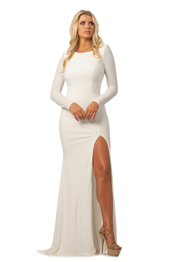 Johnathan Kayne Long Sleeve Leg Slit Gown