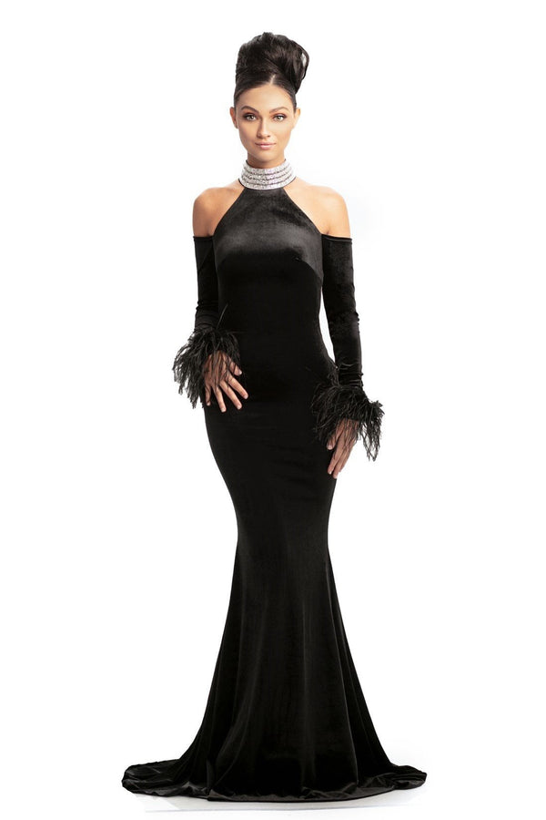 Johnathan Kayne Crystal Embellished Velvet Gown