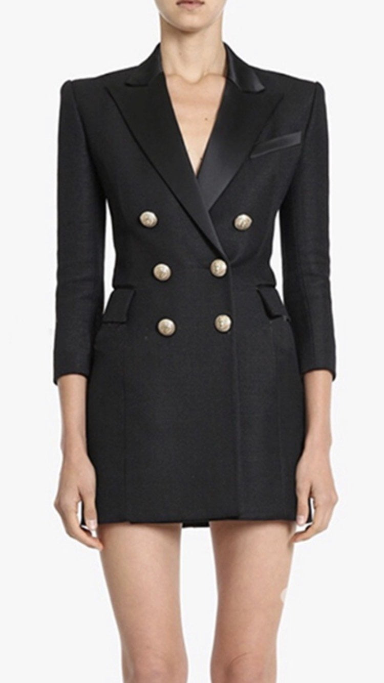 Jessica Bara Dora Gold Button Blazer Dress