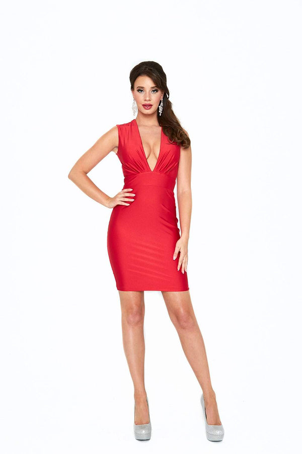 Atria V Neck Backless Bodycon Mini Dress