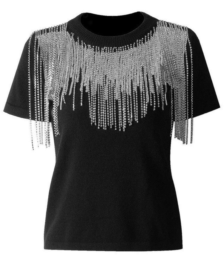 Jessica Bara Mina Chain Short Sleeve Top