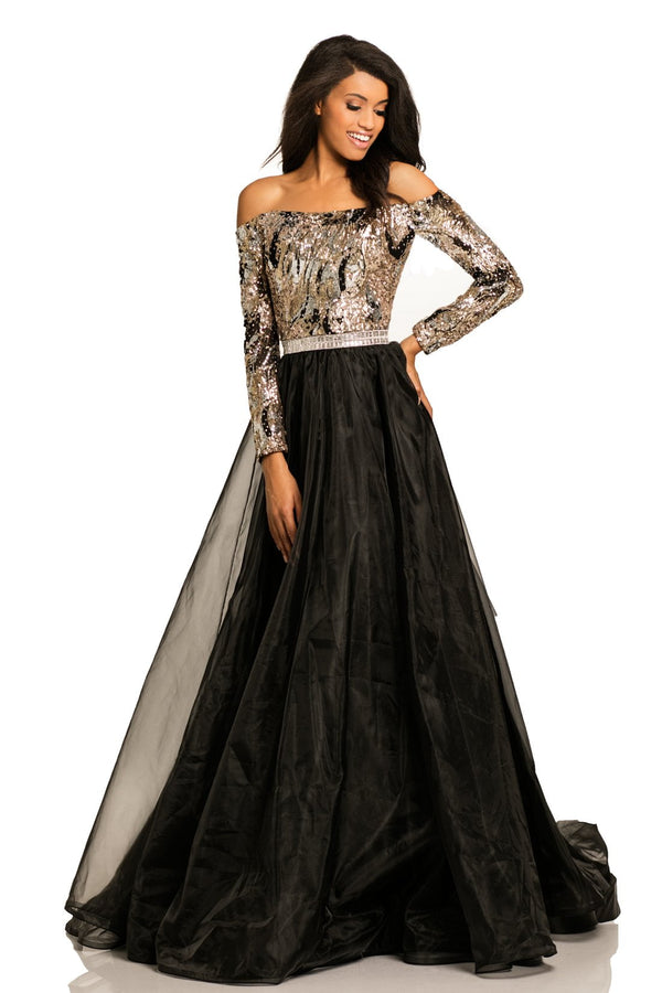Johnathan Kayne Jeweled Off The Shoulder Ballgown