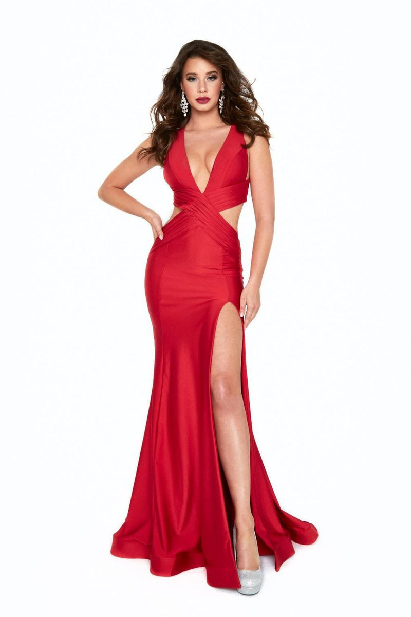Atria V Neck Cut Out Backless Gown