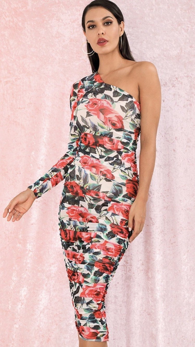 Jessica Bara Alexia One Shoulder Floral Bodycon Midi Dress