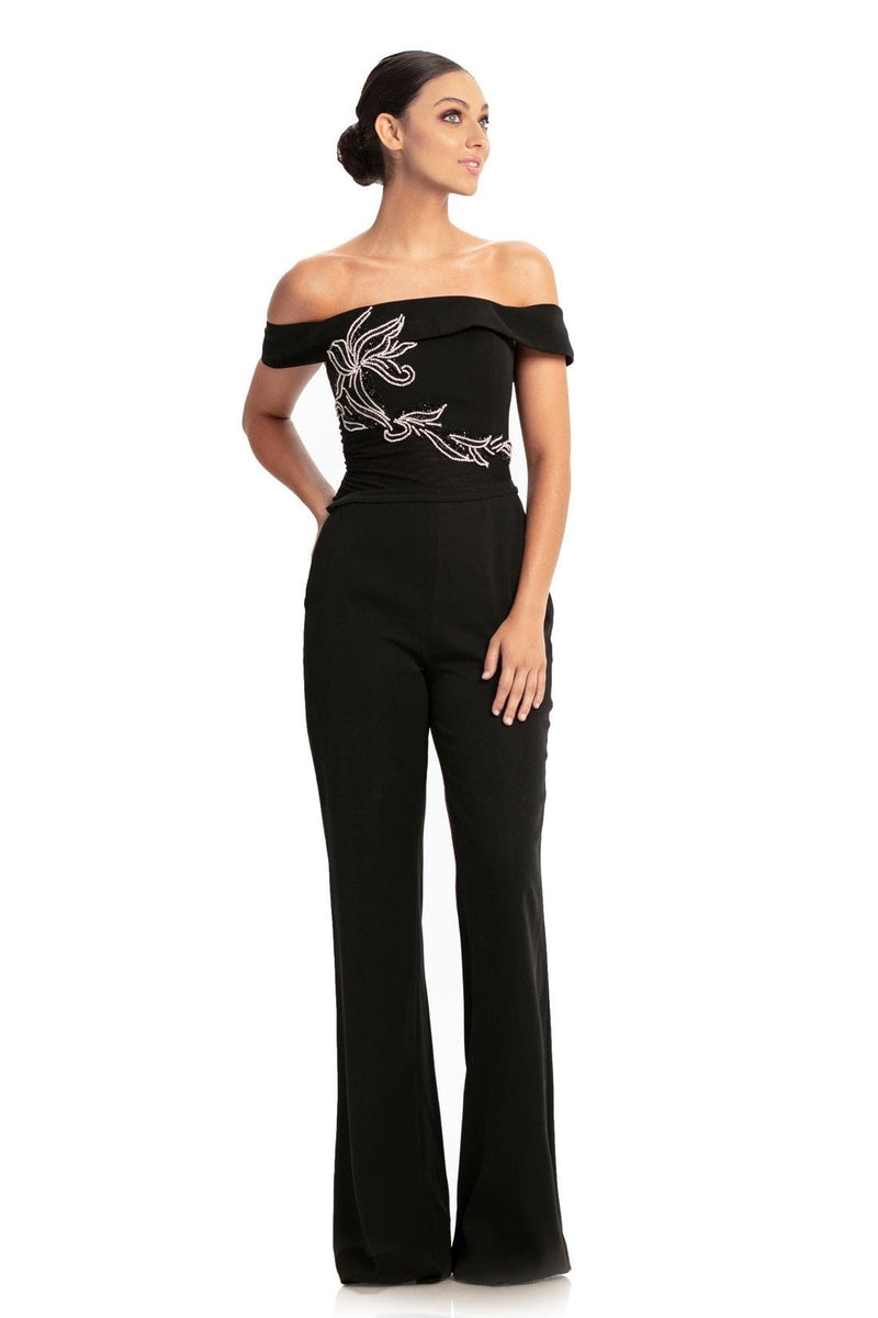 Johnathan Kayne Versatile Beaded Off The Shoulder Jumpsuit