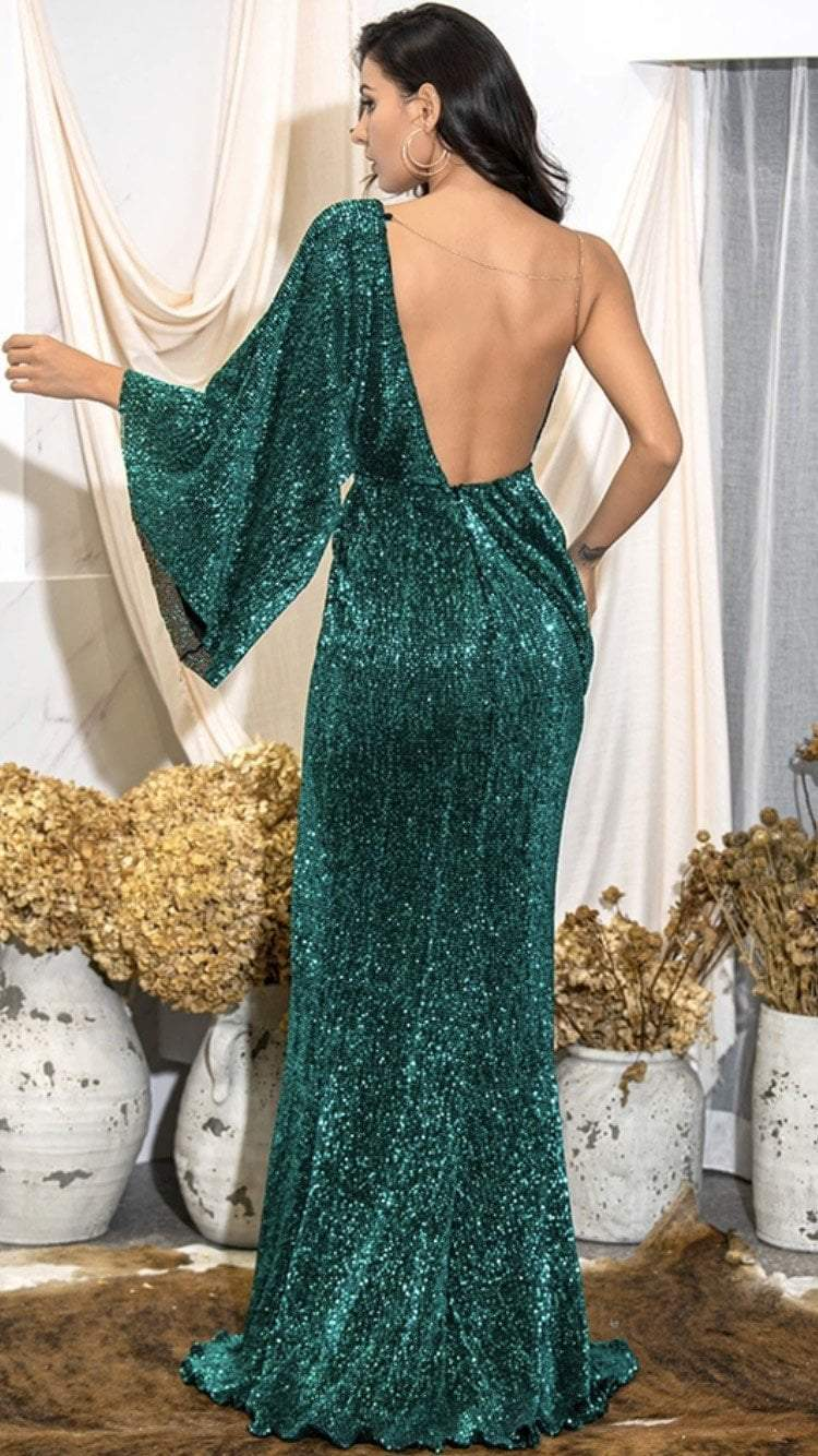 Jessica Bara Abigail V-Neck Single Sleeve Sequin Gown