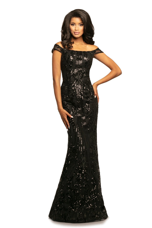 Johnathan Kayne Sequin Off The Shoulder Gown